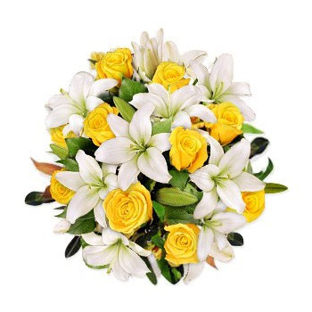 Bahrain Love Kiss Flower Delivery Lilies With Yellow Roses